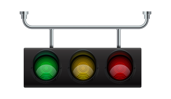 Traffic light. Realistic city stoplight. 3D hanging electric equipment for regulation transport moving. Vector glow of lamps controls movement of vehicles on roads and intersections