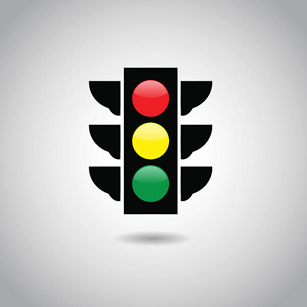 traffic light signal icon. - stoplights stock illustrations, clip art, cartoons, & icons