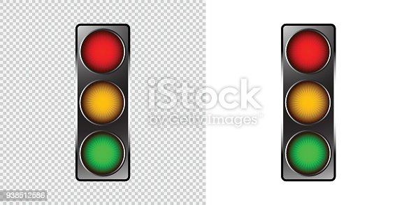 Traffic Light Symbol Light On Transparent Background Vector