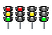 Traffic light, traffic light sequence vector icon. (Red, yellow, green lights - Go, wait, stop..) - Vector illustration image. Isolated on white background.