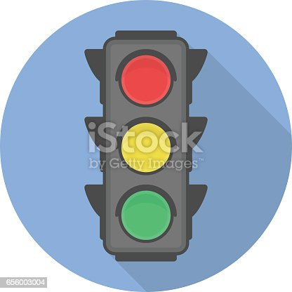 Traffic light vector icon with long shadow. EPS 10.