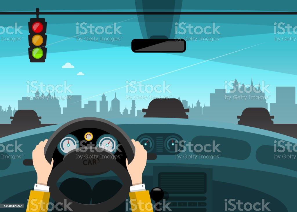 Traffic Light with City on Background vector art illustration