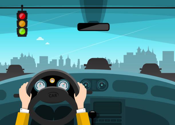 Traffic Light with City on Background Traffic Light with City on Background. Hands on Steering Wheel. Vector Car Illustration. steering wheel stock illustrations