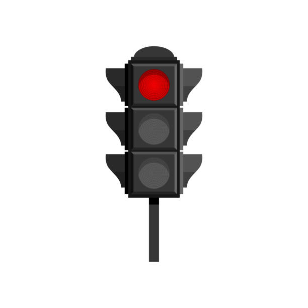 ilustrações de stock, clip art, desenhos animados e ícones de traffic light with red stop signal isolated on white background - driveway, no people