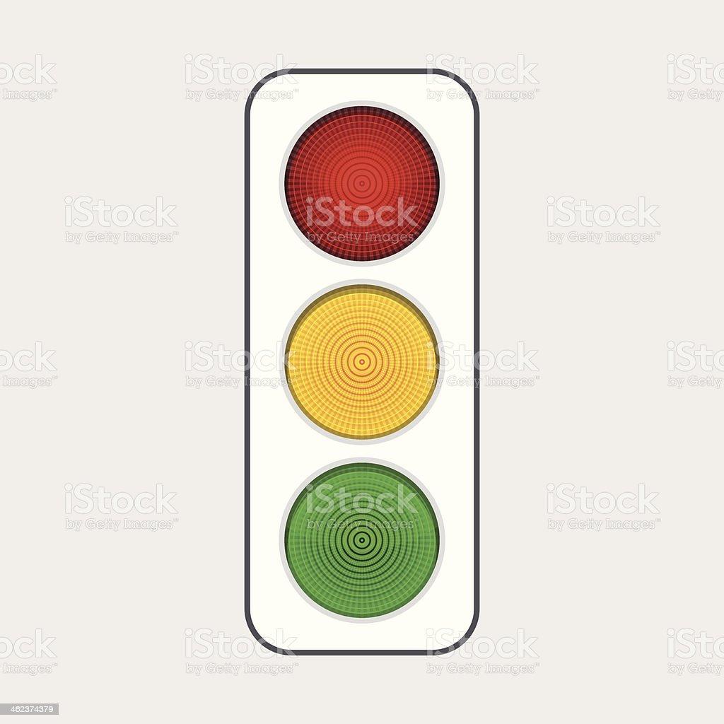 traffic light with three luminous bulbs vector art illustration