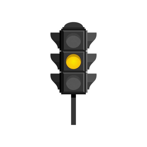 ilustrações, clipart, desenhos animados e ícones de semáforo com sinal amarelo isolado em fundo branco - equipamento amarelo