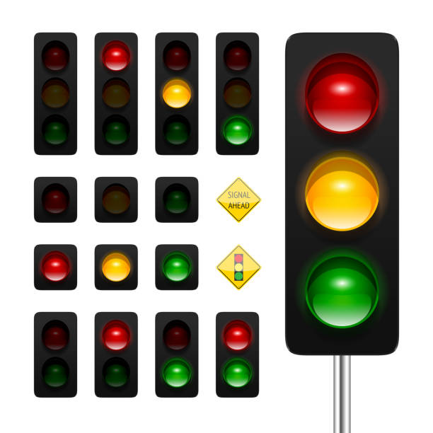 traffic lights icon set - stoplights stock illustrations, clip art, cartoons, & icons