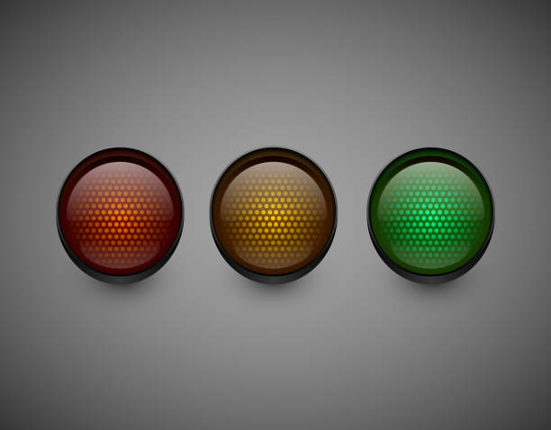 traffic lights isolated on dark background. - stoplights stock illustrations, clip art, cartoons, & icons