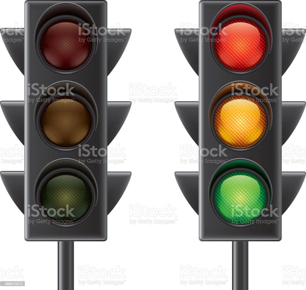 Traffic lights isolated on white vector vector art illustration