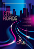 Traffic lights of the night city road, blurred lights. Effect vector beautiful background. Blur colorful dark background with cityscape, buildings silhouettes skyline. Brochure, flyer, cover, poster or guidebook template.