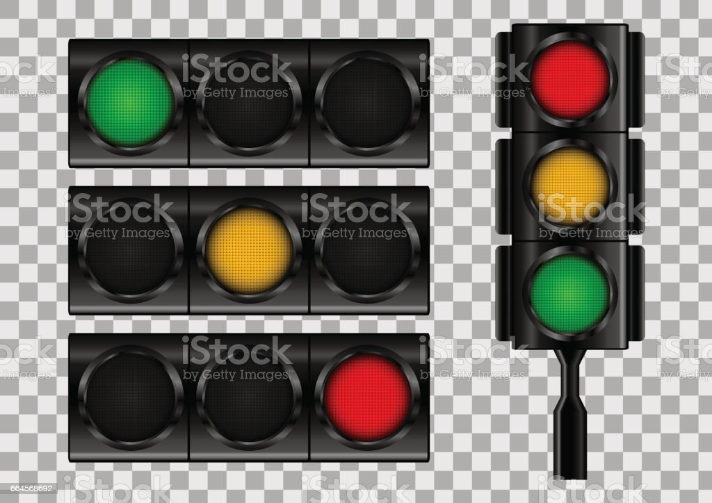 Semáforos en fondo de vector transparente. - ilustración de arte vectorial