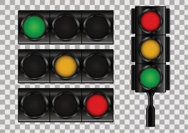 traffic lights on transparent vector background. - stoplights stock illustrations, clip art, cartoons, & icons