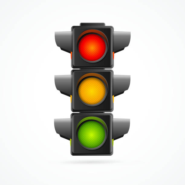 traffic lights realistic. vector - stoplights stock illustrations, clip art, cartoons, & icons