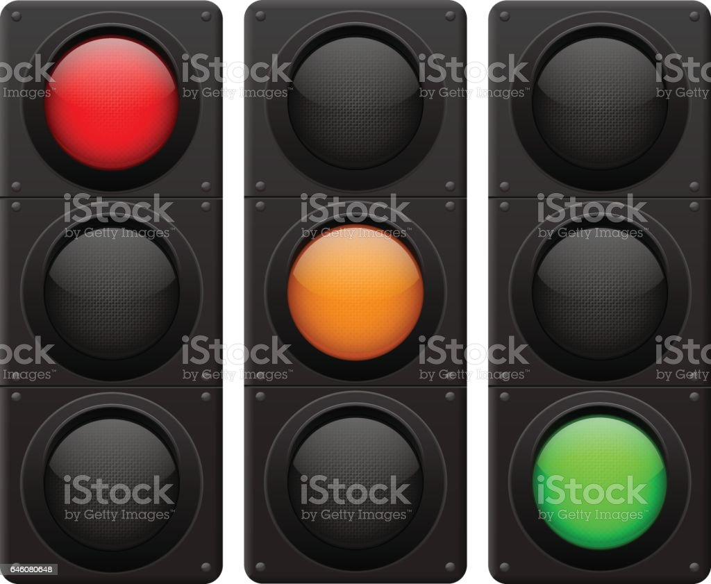 Luces de tráfico. Lámpara de rojo, amarilla, verde - ilustración de arte vectorial