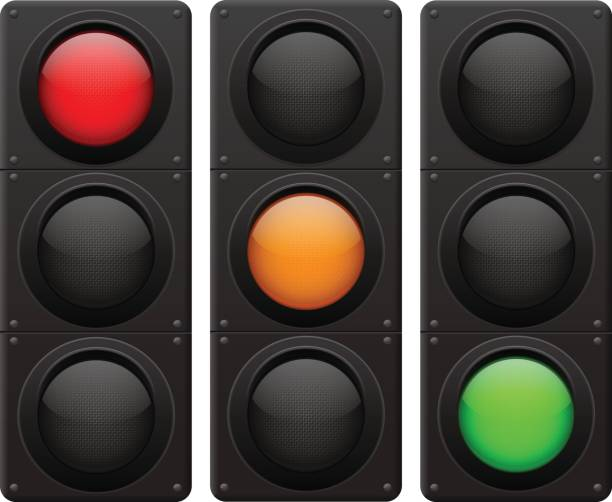 traffic lights. red, yellow, green lamp on - stoplights stock illustrations, clip art, cartoons, & icons