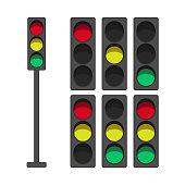 Traffic lights set illustration - red, yellow, green