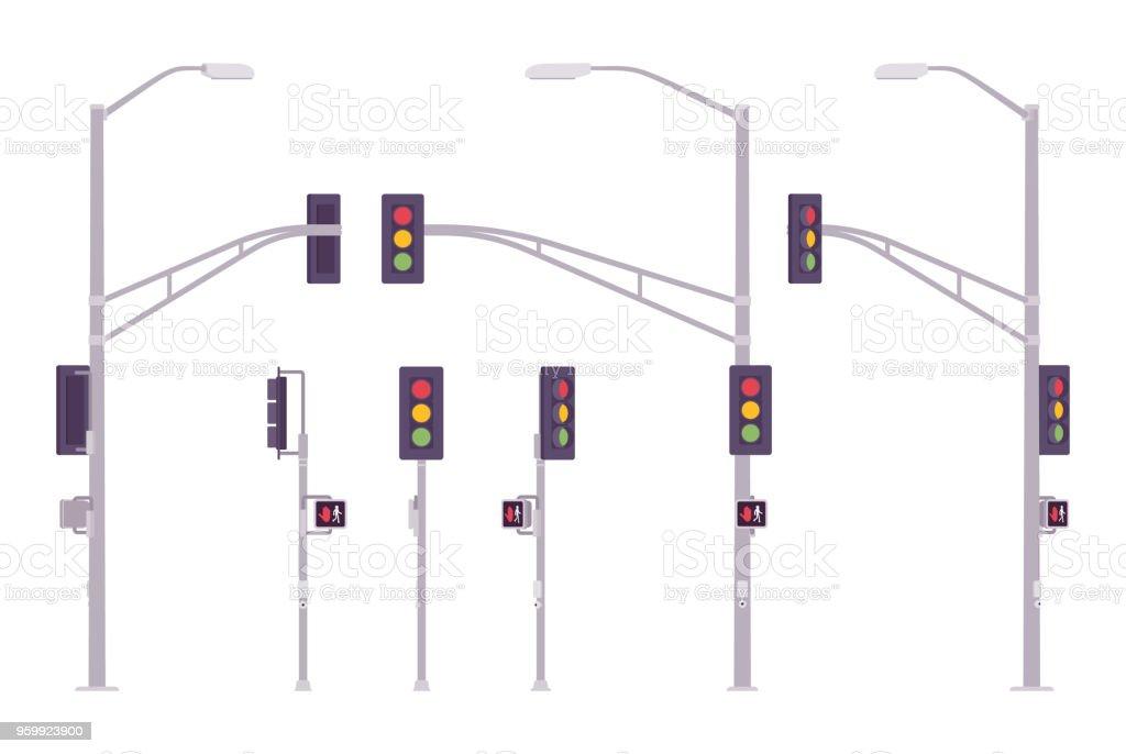 Conjunto de semáforos - ilustración de arte vectorial
