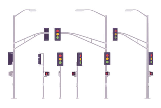 traffic lights set - stoplights stock illustrations, clip art, cartoons, & icons