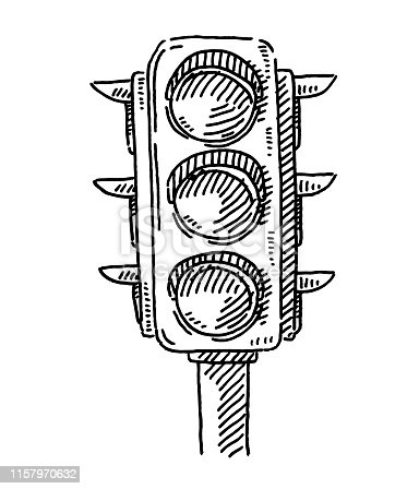 Hand-drawn vector drawing of a Traffic Lights Symbol. Black-and-White sketch on a transparent background (.eps-file). Included files are EPS (v10) and Hi-Res JPG.