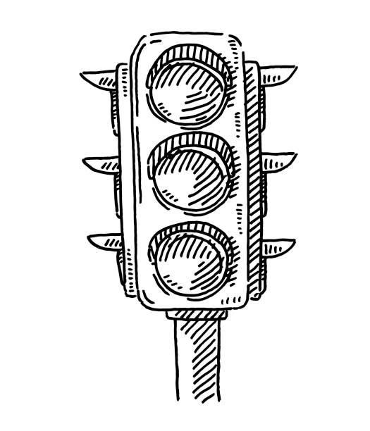 Traffic Lights Symbol Drawing Hand-drawn vector drawing of a Traffic Lights Symbol. Black-and-White sketch on a transparent background (.eps-file). Included files are EPS (v10) and Hi-Res JPG. transportation stock illustrations