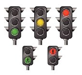 A set of five traffic lights, isolated on white.