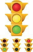Vector illustration of a traffic (stop) light in various states of illumination (all lights lit, red light, yellow light, green light). Each traffic light is on its own layer, easily separated from the others in a program like Illustrator, etc. Illustration uses linear and radial gradients. Both .ai and AI8-compatible .eps formats are included, along with a high-res .jpg, and a high-res .png with transparent background.