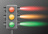 Traffic lights with bright light glowing illustration