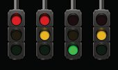 Traffic lights with different usual signal sequences - night scene - isolated vector illustration on black background.