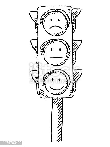Hand-drawn vector drawing of Traffic Lights With Emoticon Smileys. Black-and-White sketch on a transparent background (.eps-file). Included files are EPS (v10) and Hi-Res JPG.