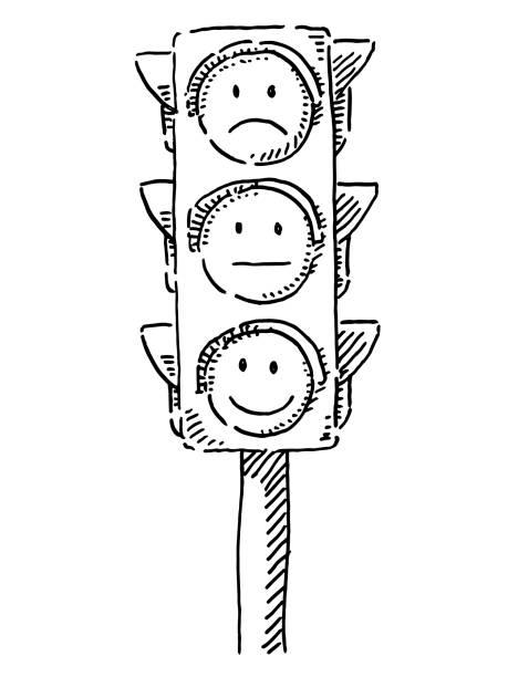 Traffic Lights With Emoticon Smileys Drawing vector art illustration