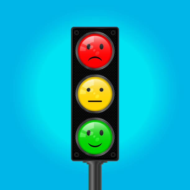 traffic lights with emoticons, vector illustration - stoplights stock illustrations, clip art, cartoons, & icons