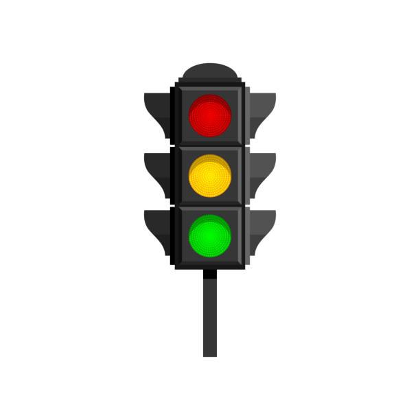 ilustrações, clipart, desenhos animados e ícones de semáforos com lâmpadas vermelhas, amarelas e verdes isoladas em fundo branco - equipamento amarelo