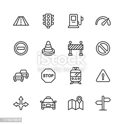 16 Traffic Outline Icons.