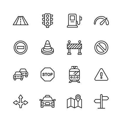 Traffic Line Icons. Editable Stroke. Pixel Perfect. For Mobile and Web. Contains such icons as Road, Traffic Light, Speedometer, Stop Sign, Traffic Cone, Car, Vehicle, Warning Sign, Map, Navigation, Taxi, Gas Station, Tram.