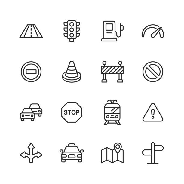 Traffic Line Icons. Editable Stroke. Pixel Perfect. For Mobile and Web. Contains such icons as Road, Traffic Light, Speedometer, Stop Sign, Traffic Cone, Car, Vehicle, Warning Sign, Map, Navigation, Taxi, Gas Station, Tram. vector art illustration