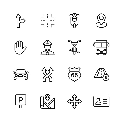 Traffic Line Icons. Editable Stroke. Pixel Perfect. For Mobile and Web. Contains such icons as Intersection, Motor, Scooter, Policeman, Road, Bicycle, Bus, Car, Vehicle, Highway, Traffic Sign, Parking Sign, Navigation, Map, Driving License, Stop Sign.