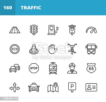 20 Traffic Outline Icons. Road, Traffic, Road Trip, Highway, Traffic Lights, Gas Station, Electric Car, Motor, Scooter, Transportation, Vehicle, Speedometer, Speed, Warning Sign, Stop Sign, Car, Human Hand, Taxi, Tram, Policeman, Direction, Navigation, Location, Map, Parking, Driving License.