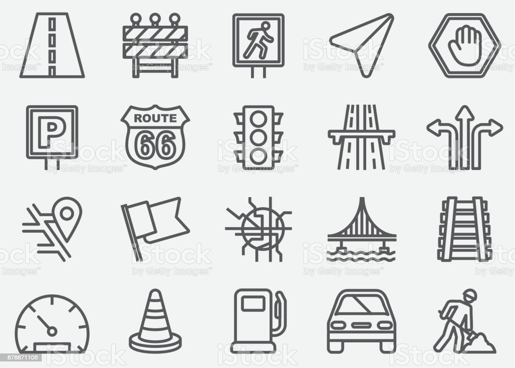 Traffic Line Icons vector art illustration