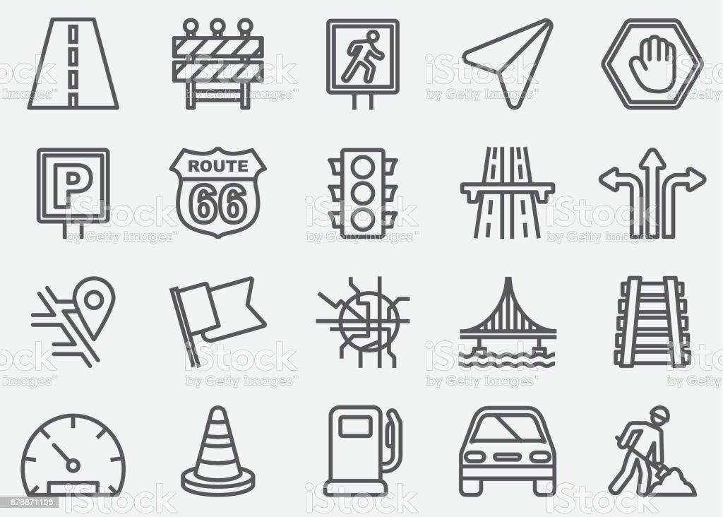 Iconos de línea de tráfico - ilustración de arte vectorial