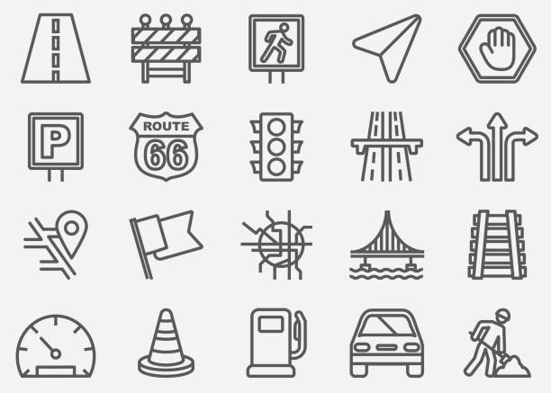 traffic line icons - konstrukcja budowlana stock illustrations