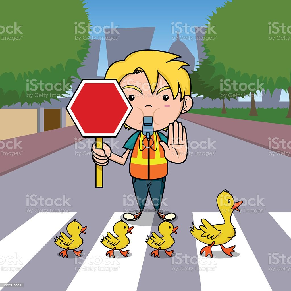 Traffic officer vector art illustration