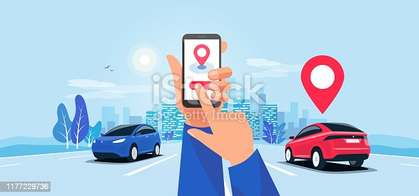 Cartoon vector illustration of hands with smartphone app and motorway traffic. Autonomous connected cars on the highway panoramic perspective horizon vanishing point view. Road to the city skyline.