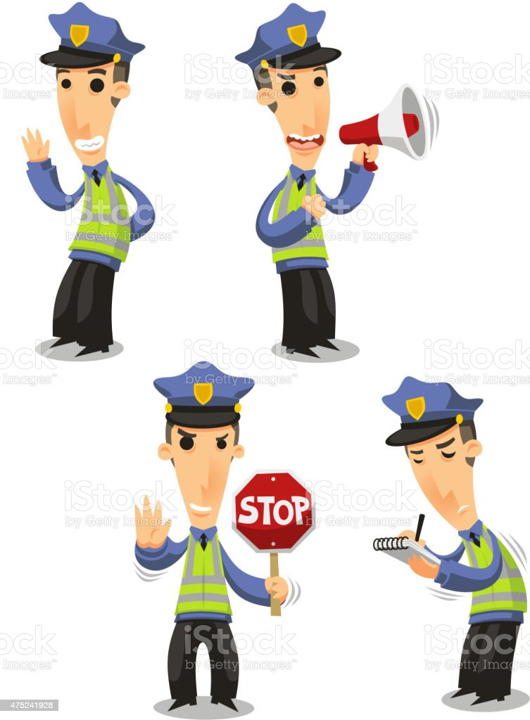 Traffic Police with megaphone, stop sign and tickets vector art illustration