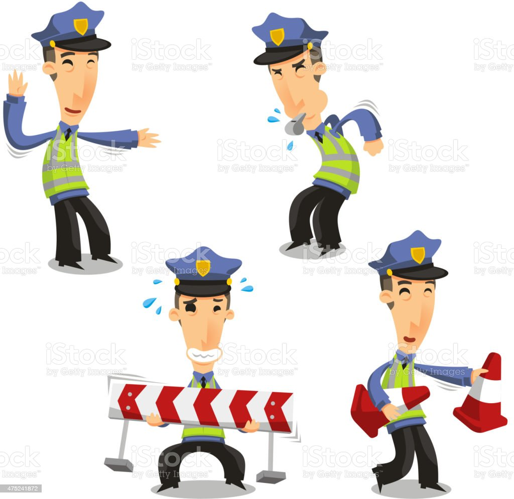Traffic Police with whistle cone and barrier vector art illustration
