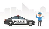 Traffic policeman holding clipboard. Cartoon policeman and police car on urban skyscrapers background. Vector illustration police officer in modern flat style.