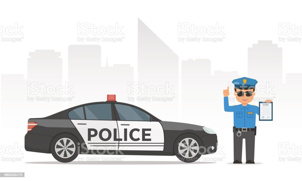 Traffic policeman holding clipboard. Cartoon policeman and police car on urban skyscrapers background. vector art illustration