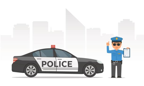 Traffic policeman holding clipboard. Cartoon policeman and police car on urban skyscrapers background. Traffic policeman holding clipboard. Cartoon policeman and police car on urban skyscrapers background. Vector illustration police officer in modern flat style. police car stock illustrations