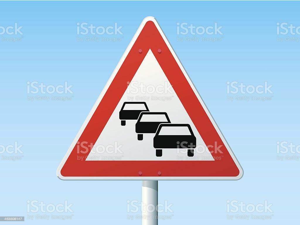 Traffic Queues German Warning Sign vector art illustration