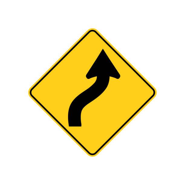 usa-verkehr verkehrsschild. direkt vor ihnen die straße kurven rechts, dann links. vektor-illustration - landstraße stock-grafiken, -clipart, -cartoons und -symbole
