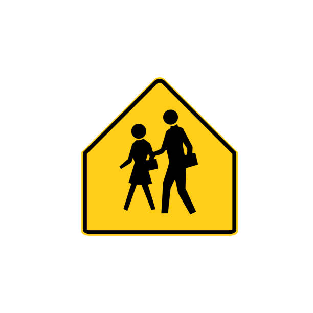bildbanksillustrationer, clip art samt tecknat material och ikoner med usa trafik vägmärke. skolan advance varning, du anger en skola zon. vektorillustration - tidszon